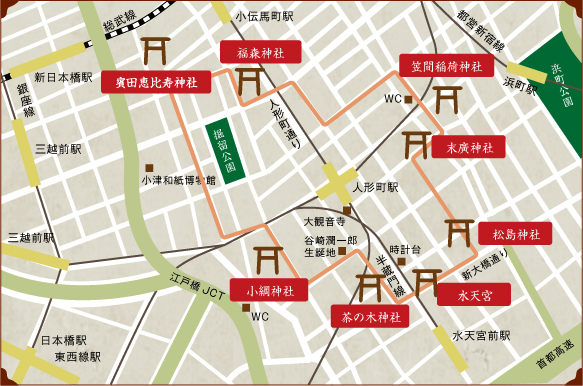 Tour of Nihonbashi Shrines to Worship the Seven Deities of Good Fortune Map